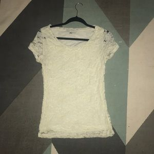 stretchy banana republic blouse with lace (cream)